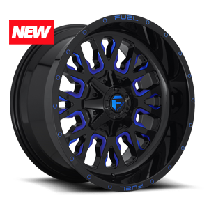 STROKE 8LUG 20x10 ET 18 GLOSS BLK N MILLED CANDY BLUE A1 300 NEW 3732